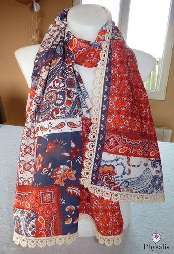 foulard orange motif cachemire