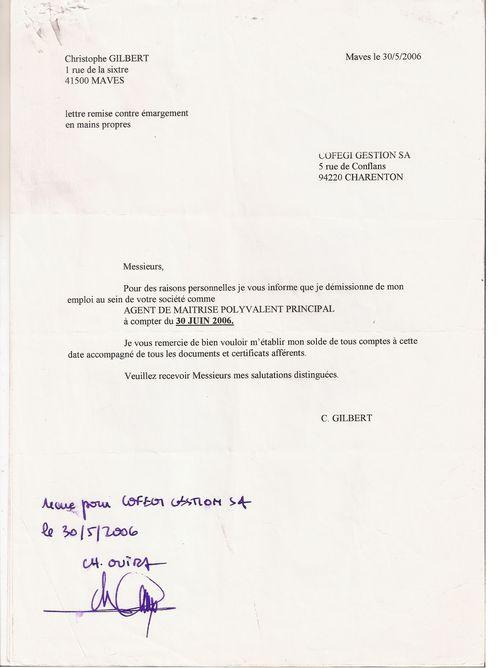 Exemple De Lettre De Démission Sans Préavis Covering