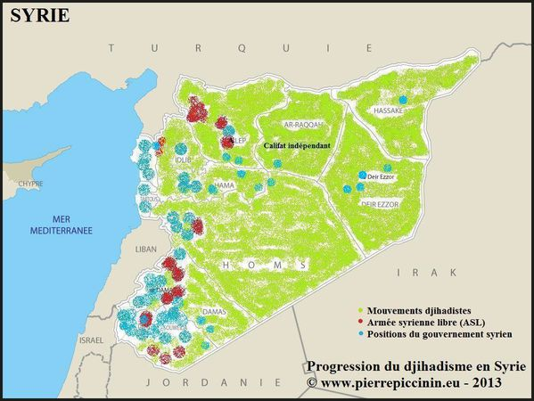Carte progression djihadisme Syrie
