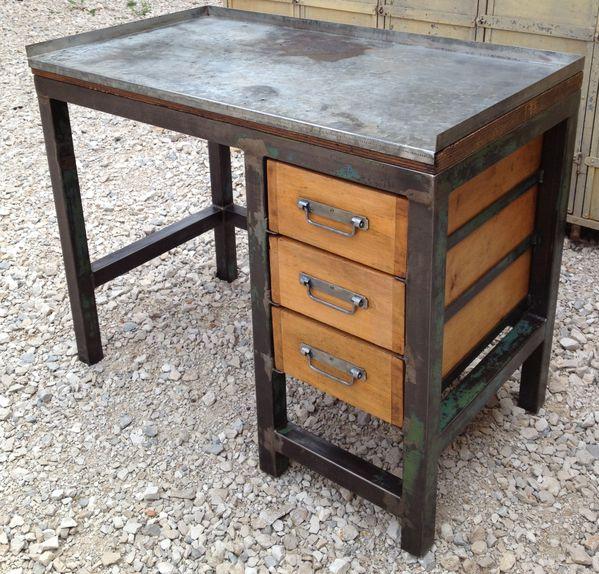 etabli bureau metal 3 tiroirs bois 1950 patine