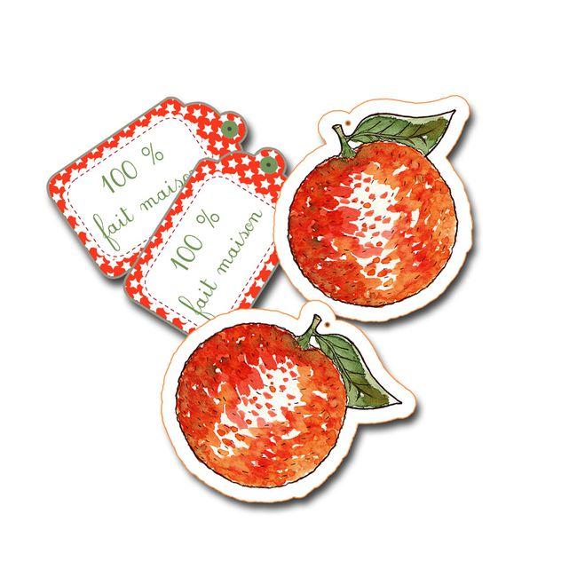 étiquette forme d'orange à imprimer gratuitement