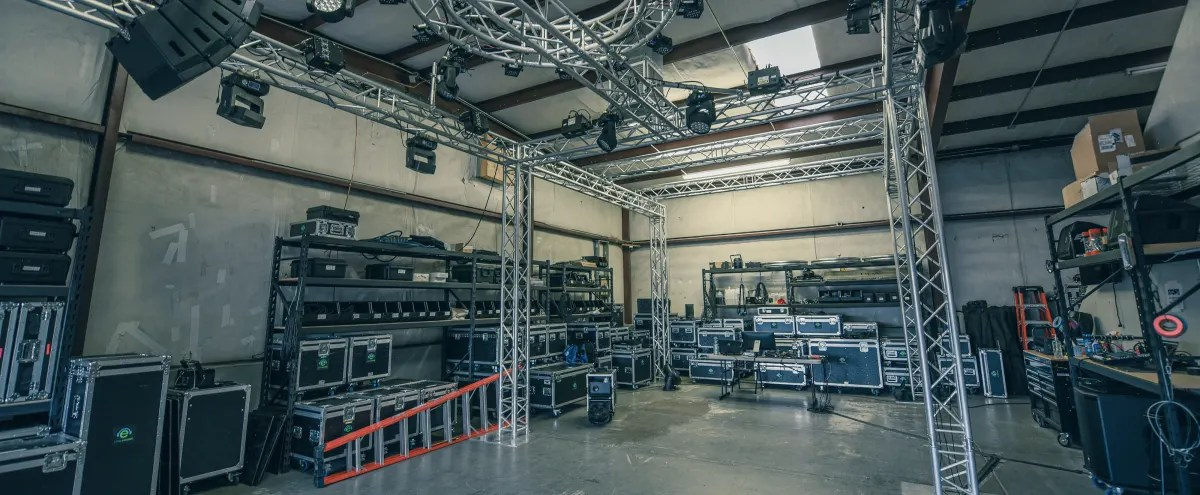 event production company warehouse with lighting lab