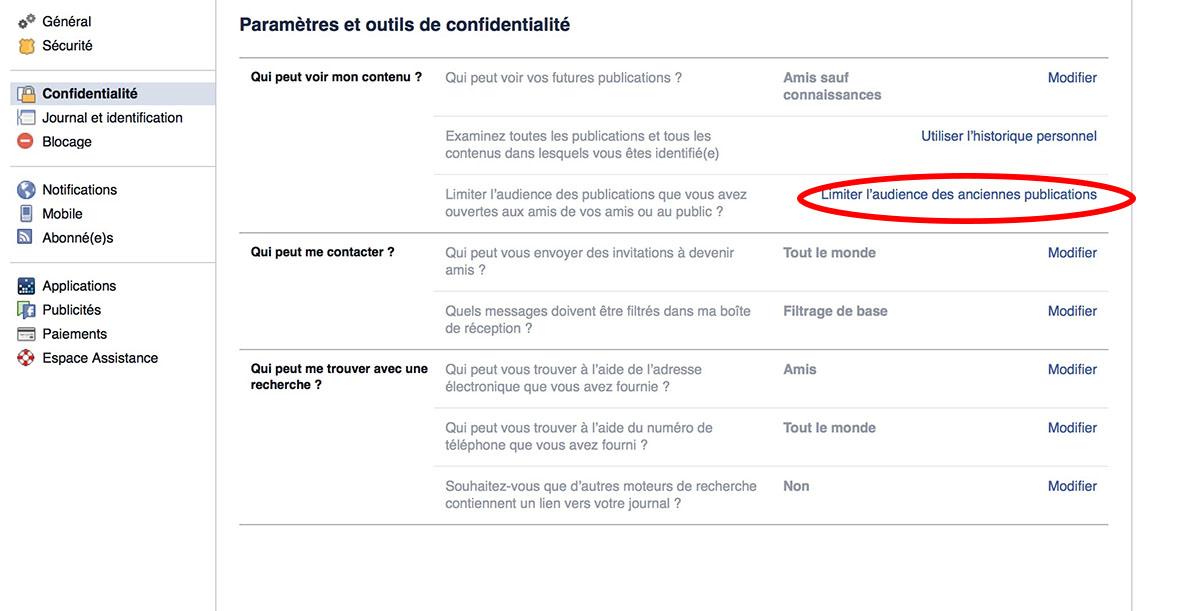 facebook politique confidentialité