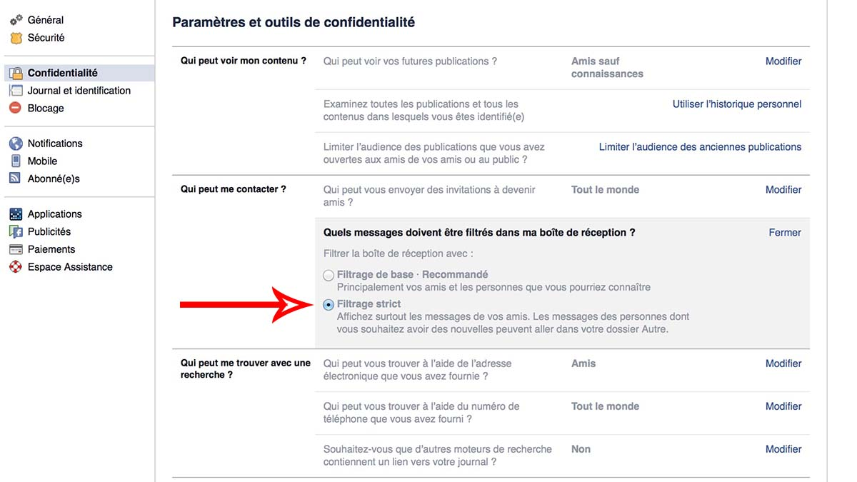 facebook reglages confidentialite