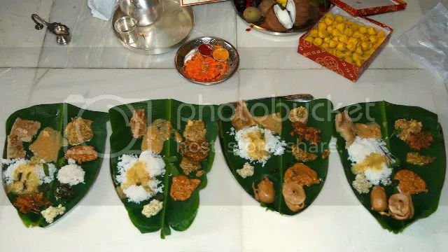 Picture of Ganapati, Ganesh puja prasad lunch in banana leaves Arun Shanbhag