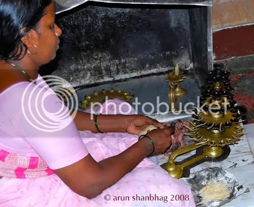 preparing aartis at the Ramnathi Devasthan in Goa