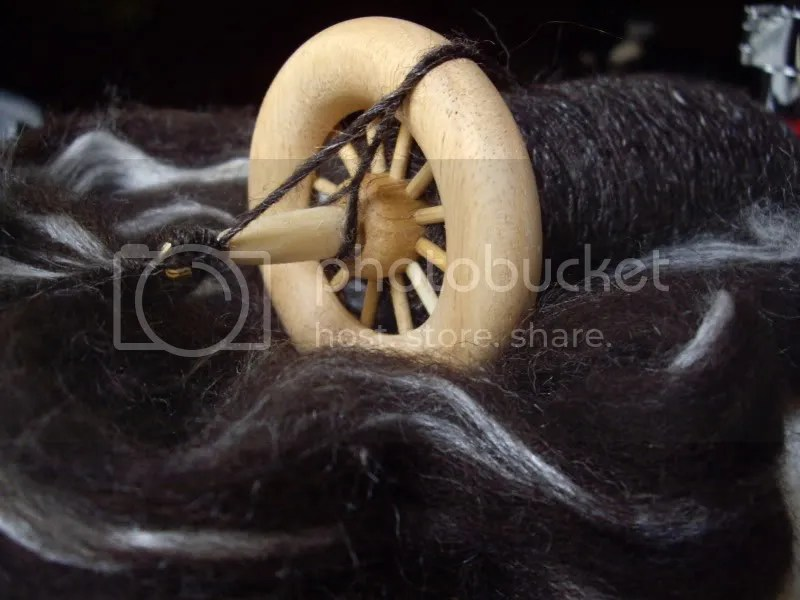 Natural black Shetland with stripes of white tussah