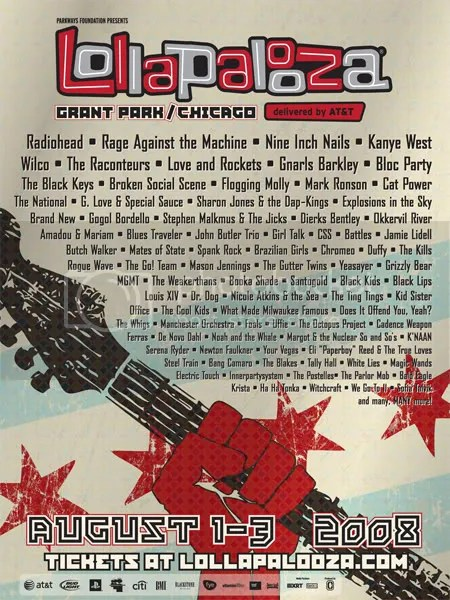 Lollapalooza 2008 flyer