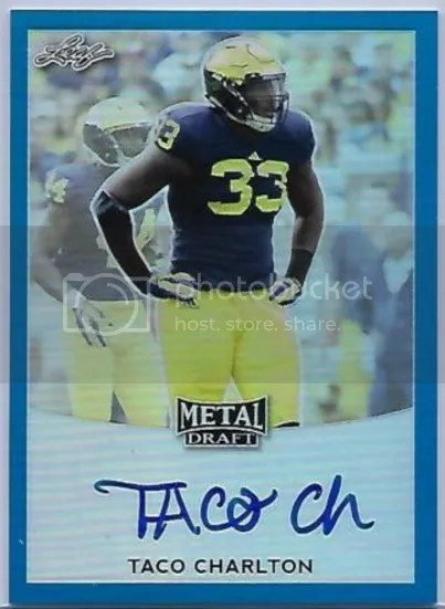 Card of the Day: Taco Charlton 2017 Leaf Metal Draft Blue Prismatic Auto
