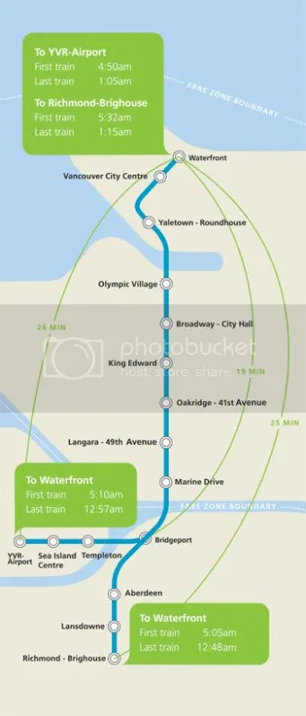 Map of the Canada Line stations
