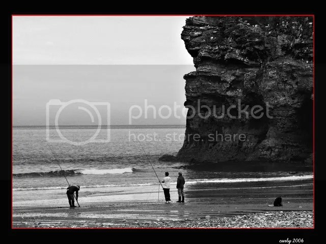 Picture, anglers at Marsden Rock, South Shields