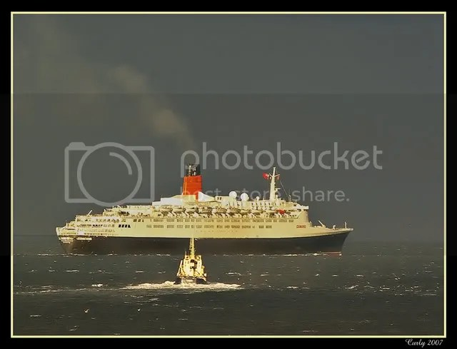 QE2 off South Shields