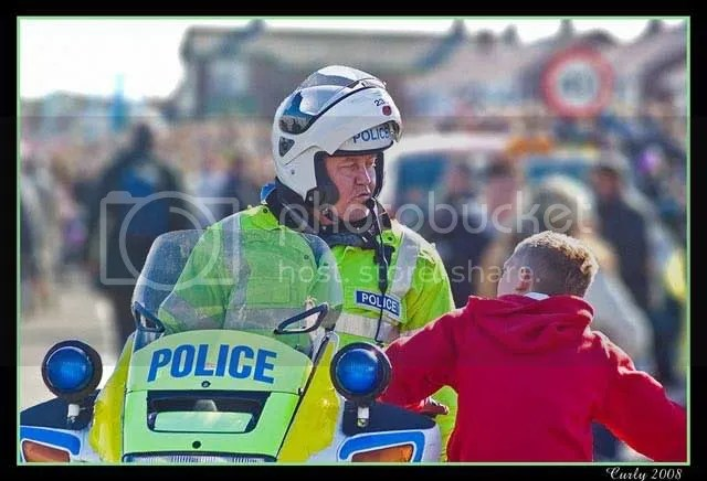 Policeman and boy, Great North Run, South Shields 2008