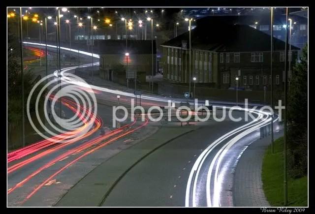 light trails, South Shields
