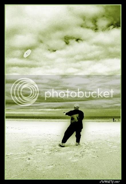 Flying a kite, Sandhaven Beach, South Shields