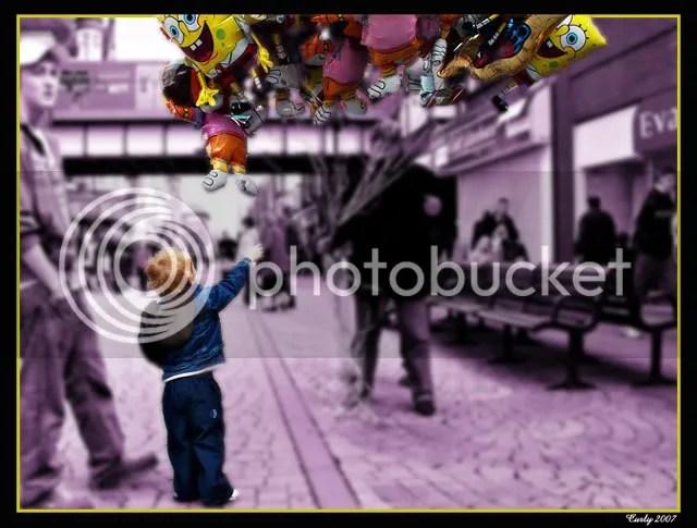 Boy choosing a balloon in South Shields