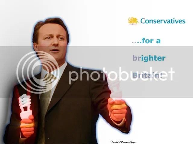 David Cameron with light bulbs