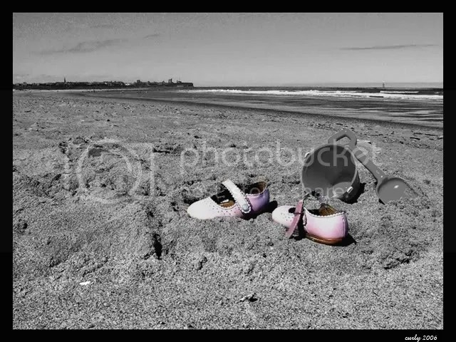pink shoes picture, Sandhaven Beach, South Shields