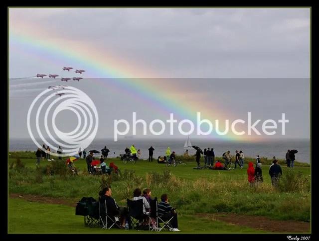 Red Arrows pass under a rainbow, Sunderland Air Show 2007