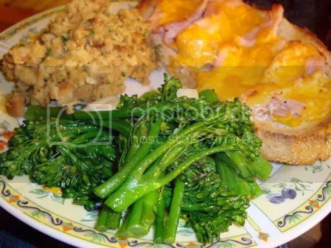 StoveTop, turkey melt, and broccolini