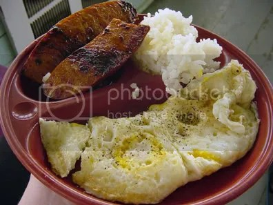 Portagee sausage, eggs, and rice