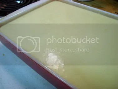 mochi batter in the pan