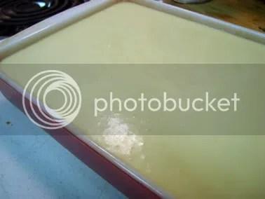 mochi batter in the pan