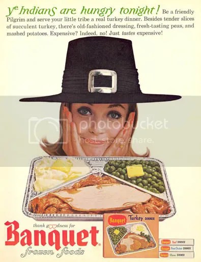 a vintage Banquet Frozen Turkey Dinner ad
