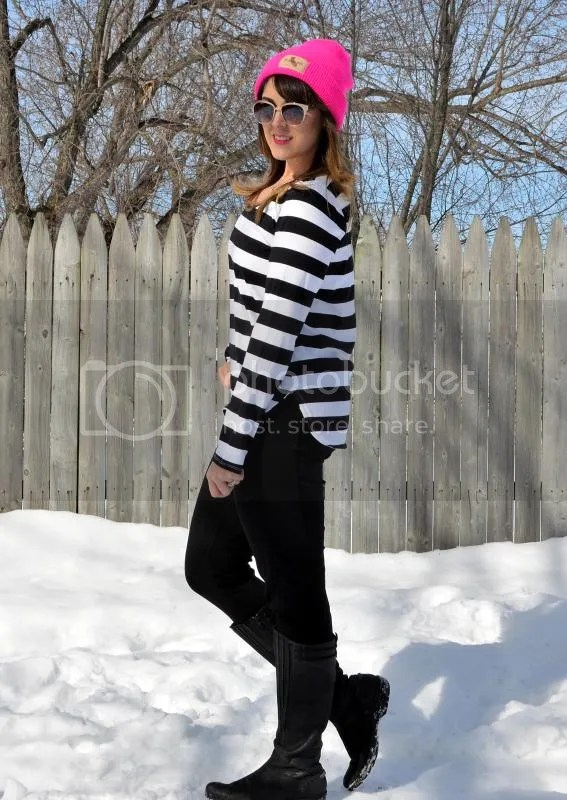 photo Black and white striped shirt with pink hat.jpg