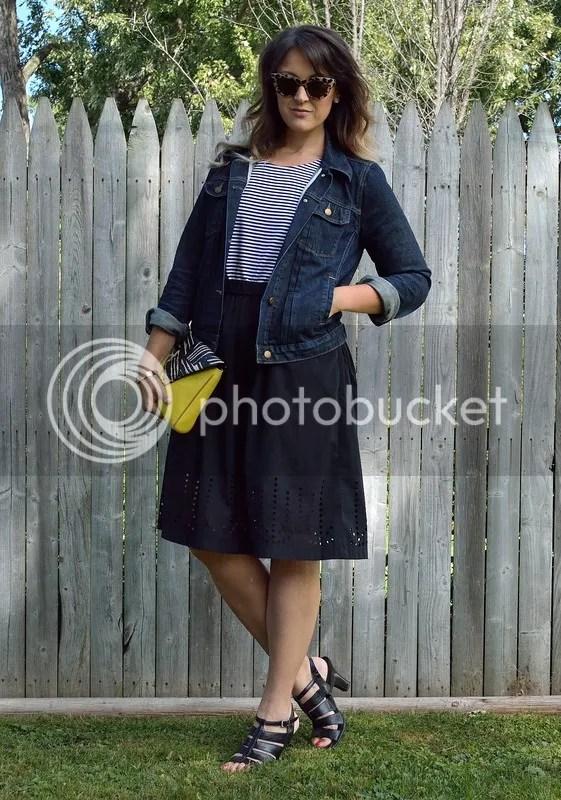 photo Stripe shirt with black skirt.jpg