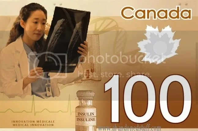 "Oh RLY $100, Canadian $100 bank note before the bank took off the ""Asian-looking"" woman."