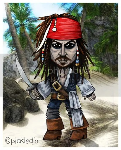 Captain Jack Sparrow Johnny Depp caticature