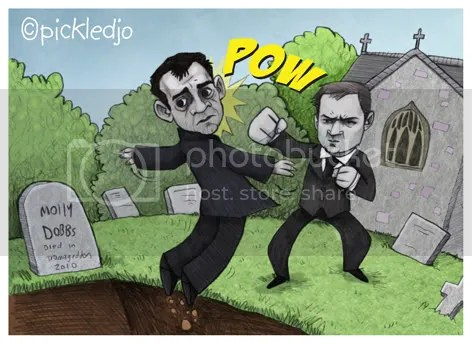 Tyrone Dobbs punches Kevin Webster into Molly's grave. Coronation Street.