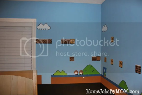 finished wall of mario room