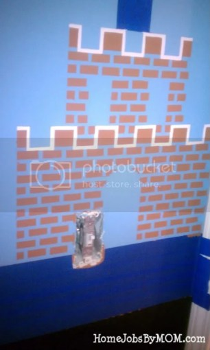 taped and partially painted mario castle