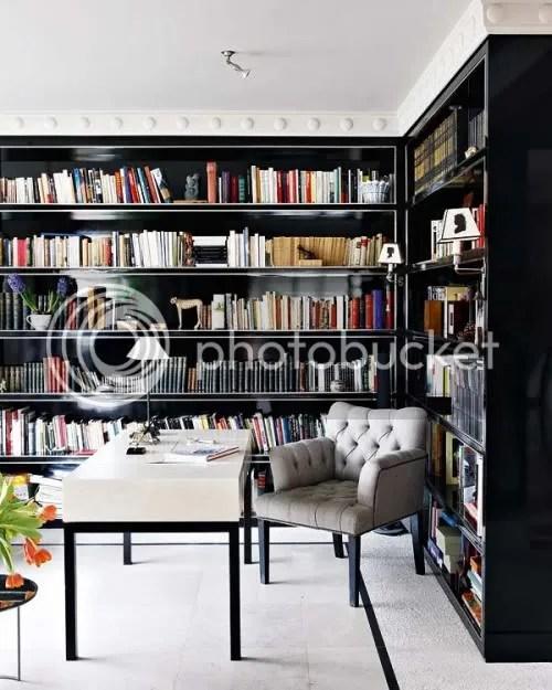 Black Shelves, White Chair