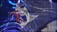 Iron Man in cyberspace fighting a digital shark...