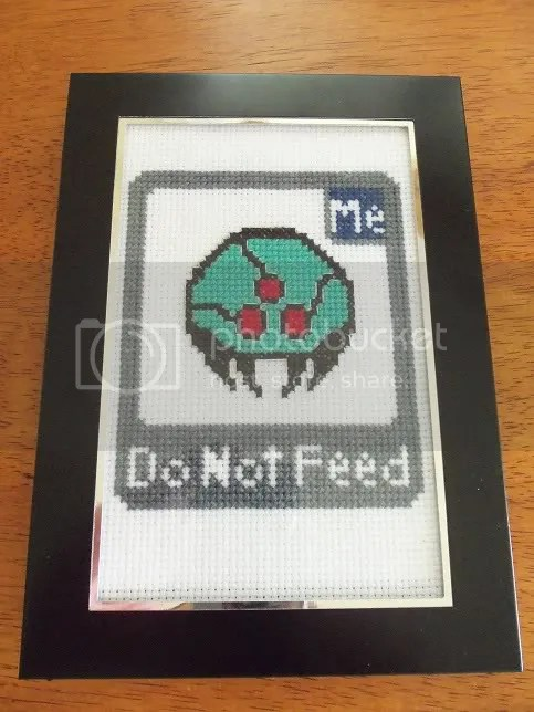 Metroid: Do Not Feed cross stitch