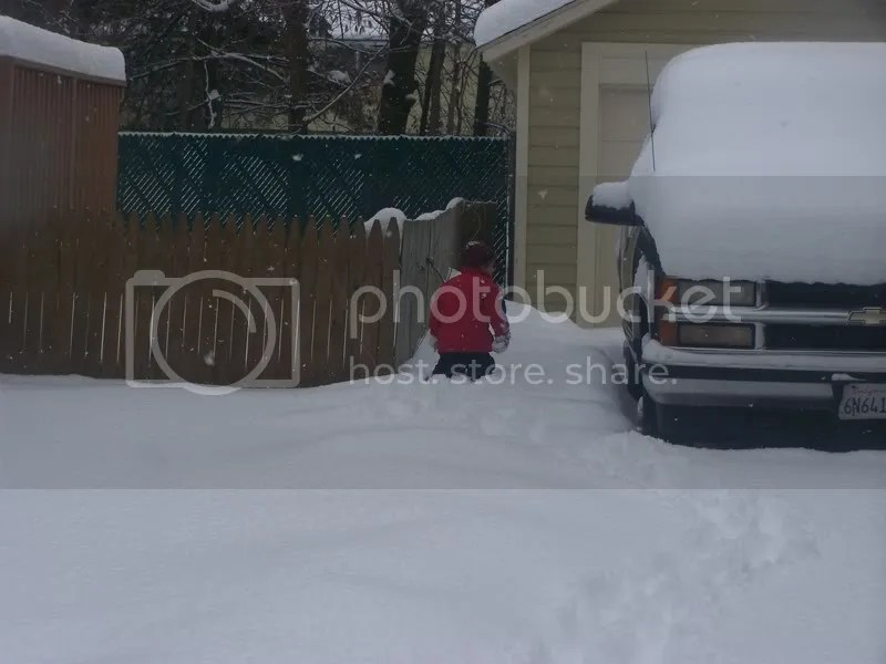 trapsing off to the backyard to see how deep the snow is!