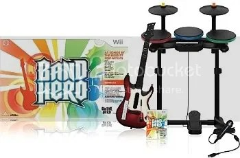 A Band Hero pack inc. guitar, drums, microphone