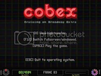 COBEX title screen