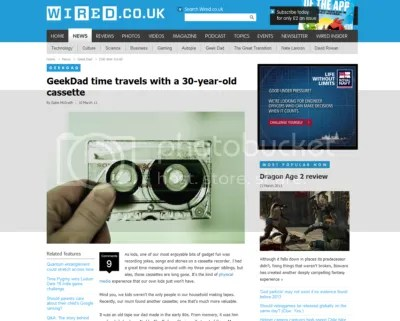 Screenshot: Wired Geekdad 'Time Travel Cassette' blog post