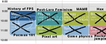 Fictional school timetable - with gaming subjects