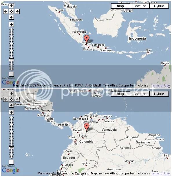 Peta Antipode Jakarta
