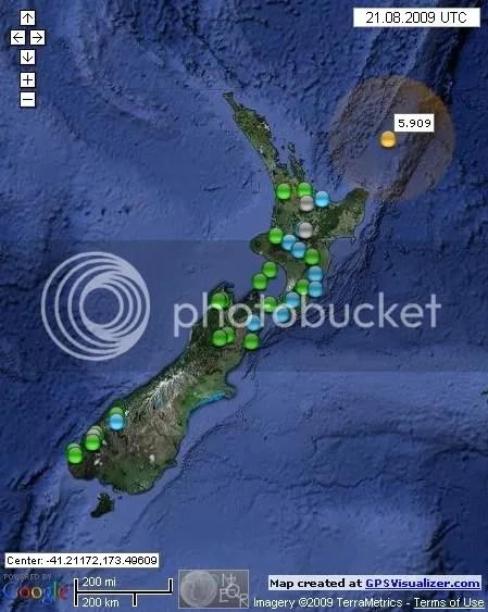 New Zealand Earthquakes August 21st 2009 UTC