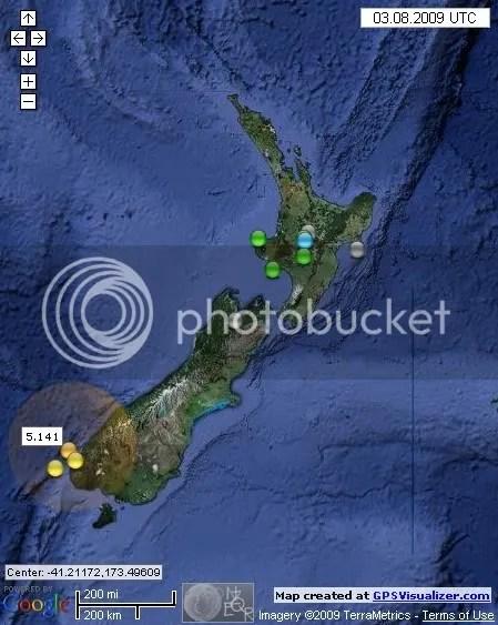 New Zealand Earthquakes August 3rd 2009 UTC