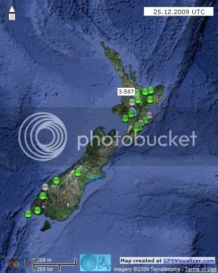 New Zealand Earthquakes 25 December 2009 UTC
