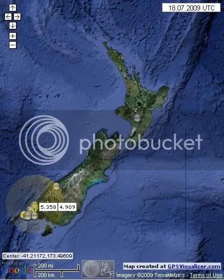 New Zealand Earthquakes July 18th 2009 UTC
