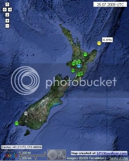 New Zealand Earthquakes July 25th 2009 UTC