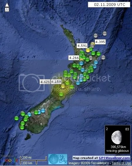 New Zealand Earthquakes 2 July 2009 UTC